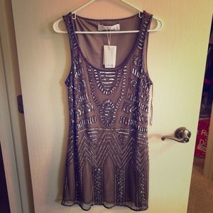 Taupe Beaded Dress NWT